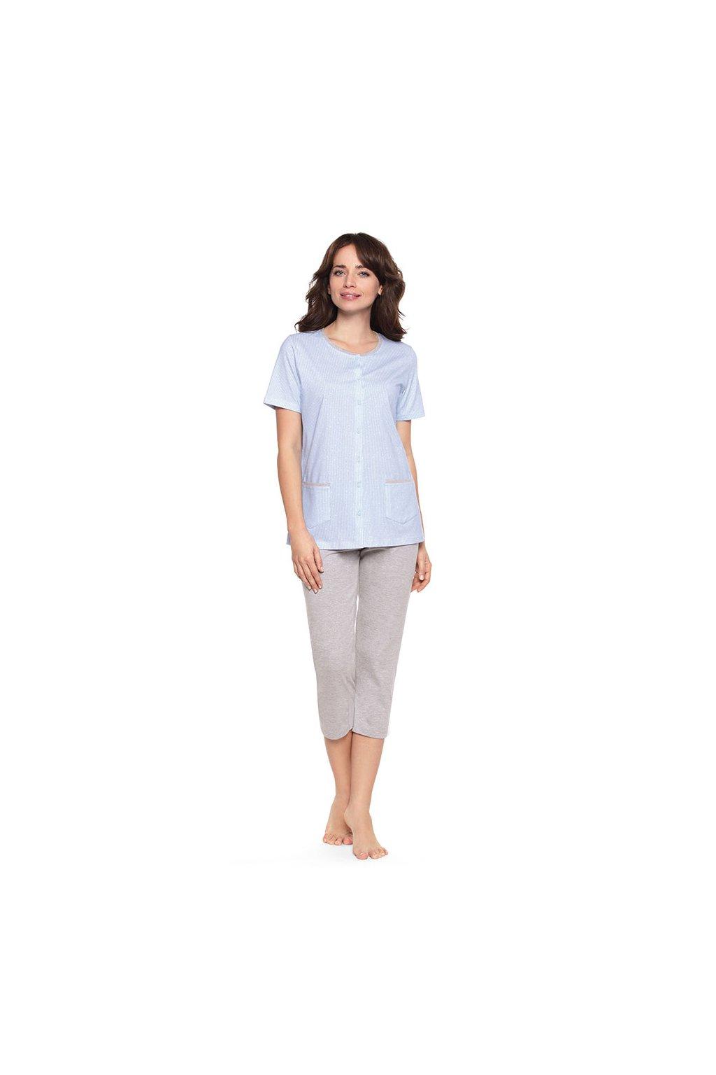 Dámské pyžamo s krátkým rukávem a 3/4 nohavicemi, 104473 415, modrá