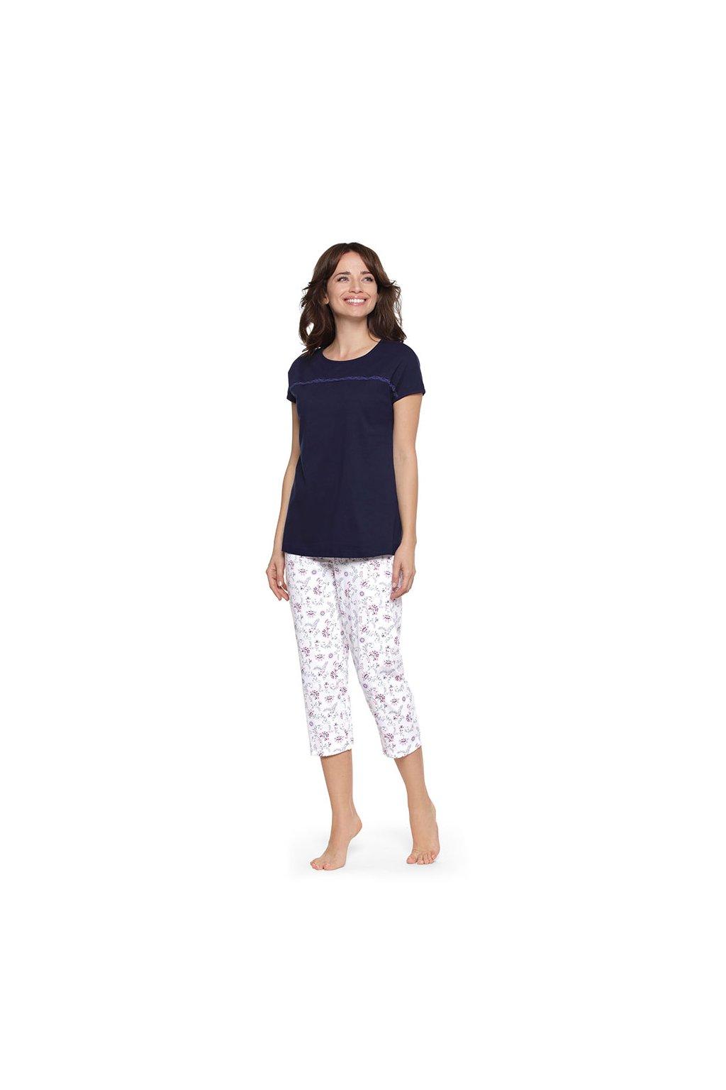 Dámské pyžamo s krátkým rukávem a 3/4 nohavicemi, 104478 163, tmavě modrá