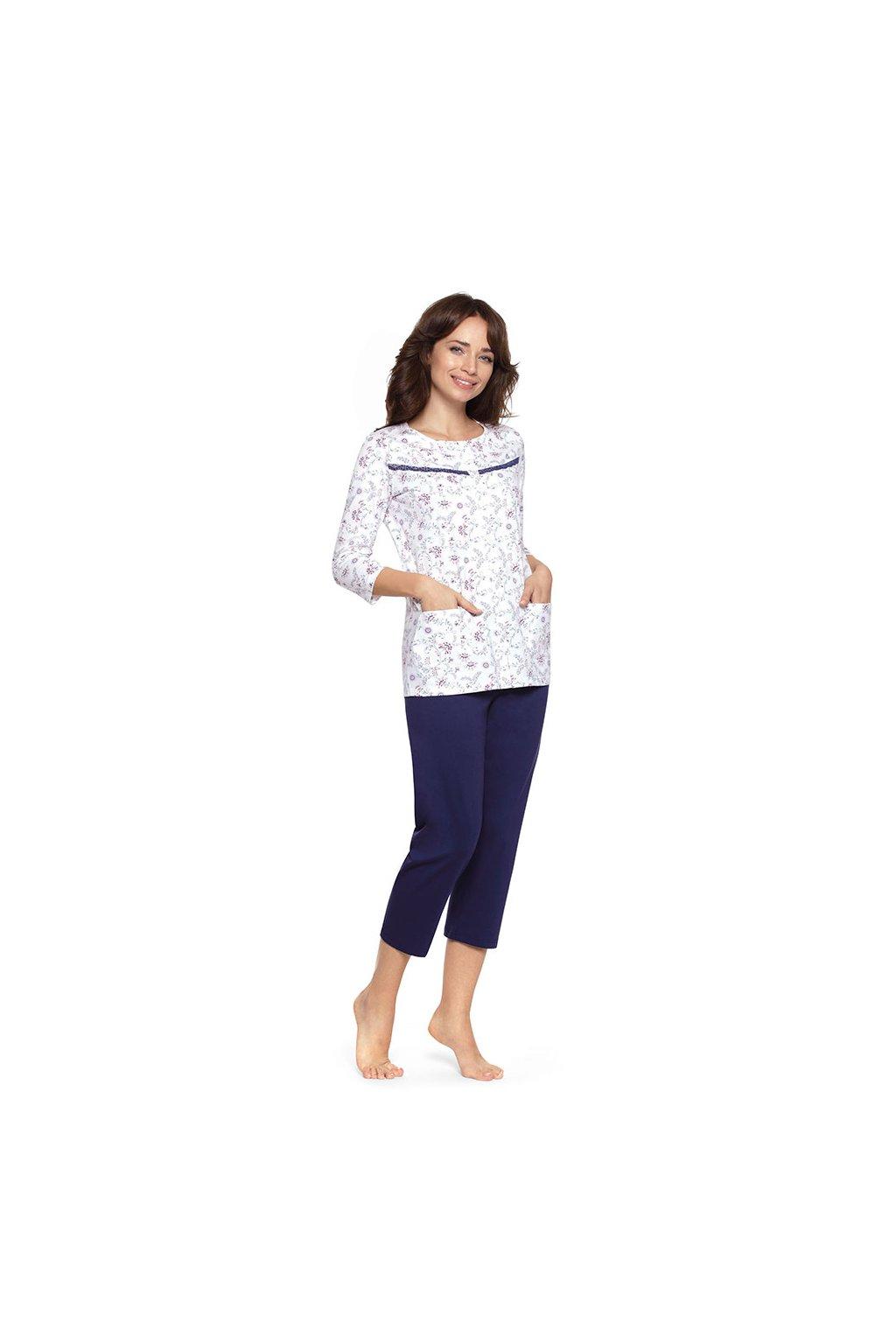 Dámské pyžamo s 3/4 rukávem, 104479 163, tmavě modrá