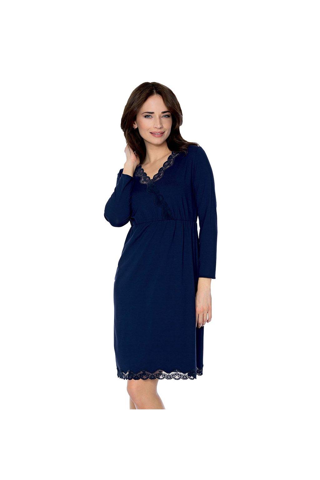 Dámská noční košile se 7/8 rukávem, 104489 163, tmavě modrá