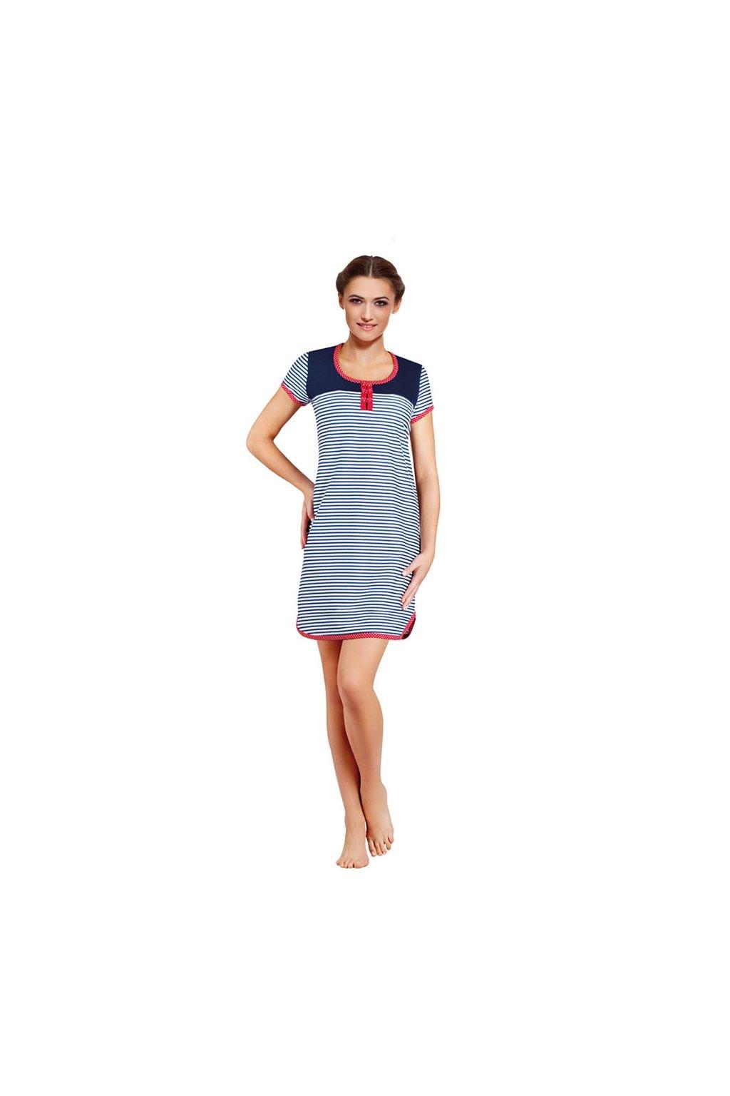 Dámská noční košile s krátkým rukávem, 104238 668, modrá/bílá