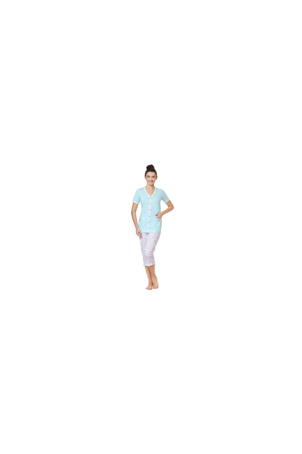 Dámské pyžamo s krátkým rukávem a 3/4 nohavicemi, 104332 16, modrá