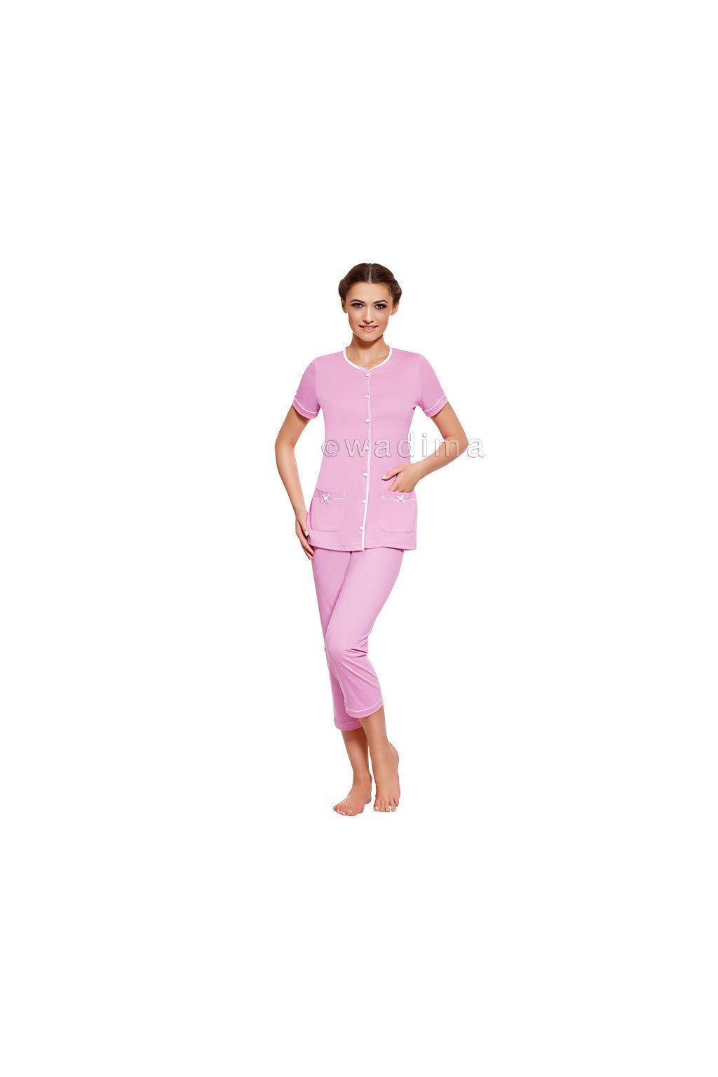 Dámské pyžamo s krátkým rukávem a 3/4 nohavicemi, 104277 338, modrá