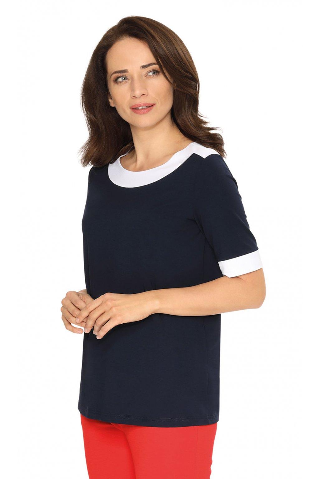 Dámská halenka s krátkým rukávem, 103760 101, tmavě modrá