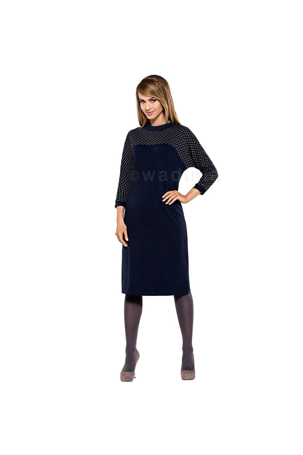 Dámské šaty s 3/4 rukávem, 10545 101, tmavě modrá