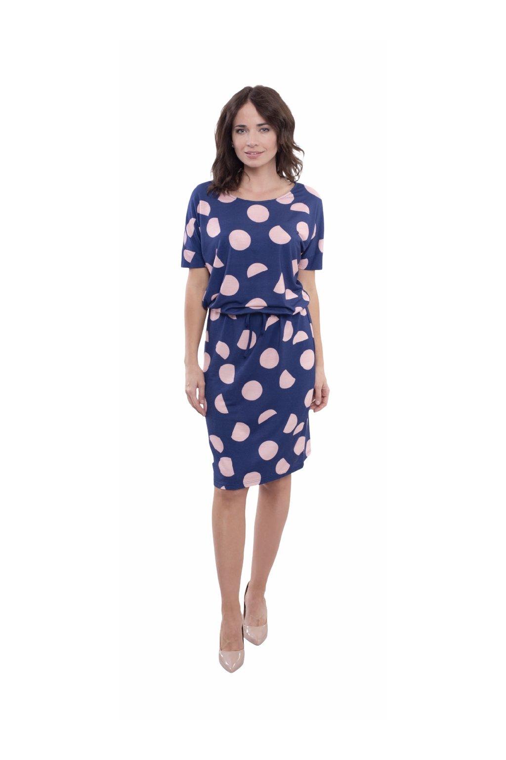 Dámské šaty s krátkým rukávem, 105140 247, modrá