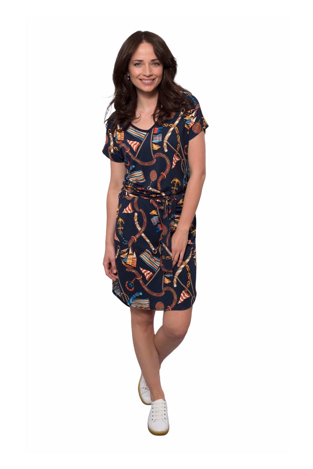 Dámské šaty s krátkým rukávem, 105136 380, modrá