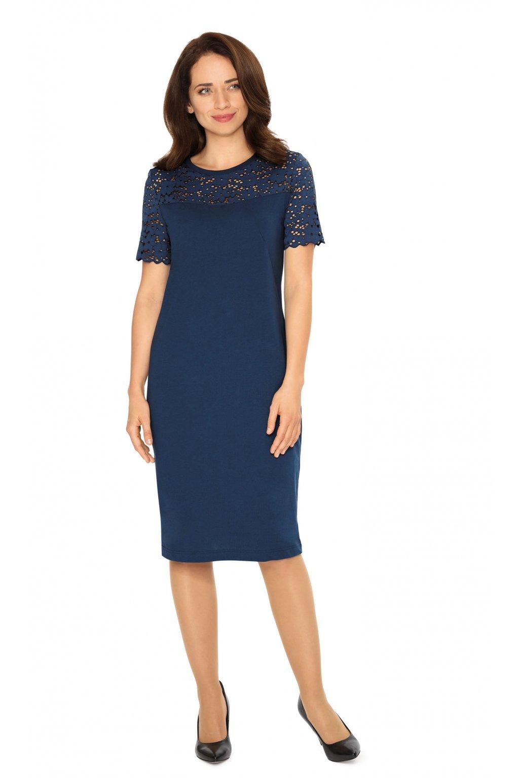 Dámské šaty s krátkým rukávem, 105122 466, modrá