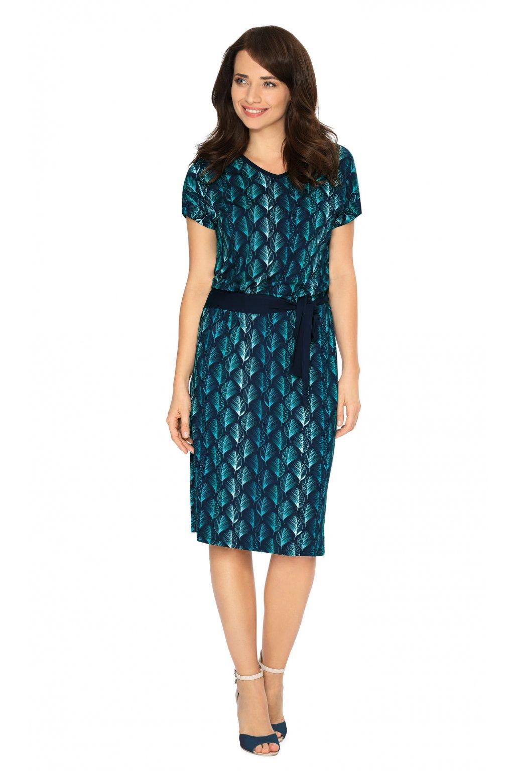 Dámské šaty s krátkým rukávem, 105125 101, tmavě modrá