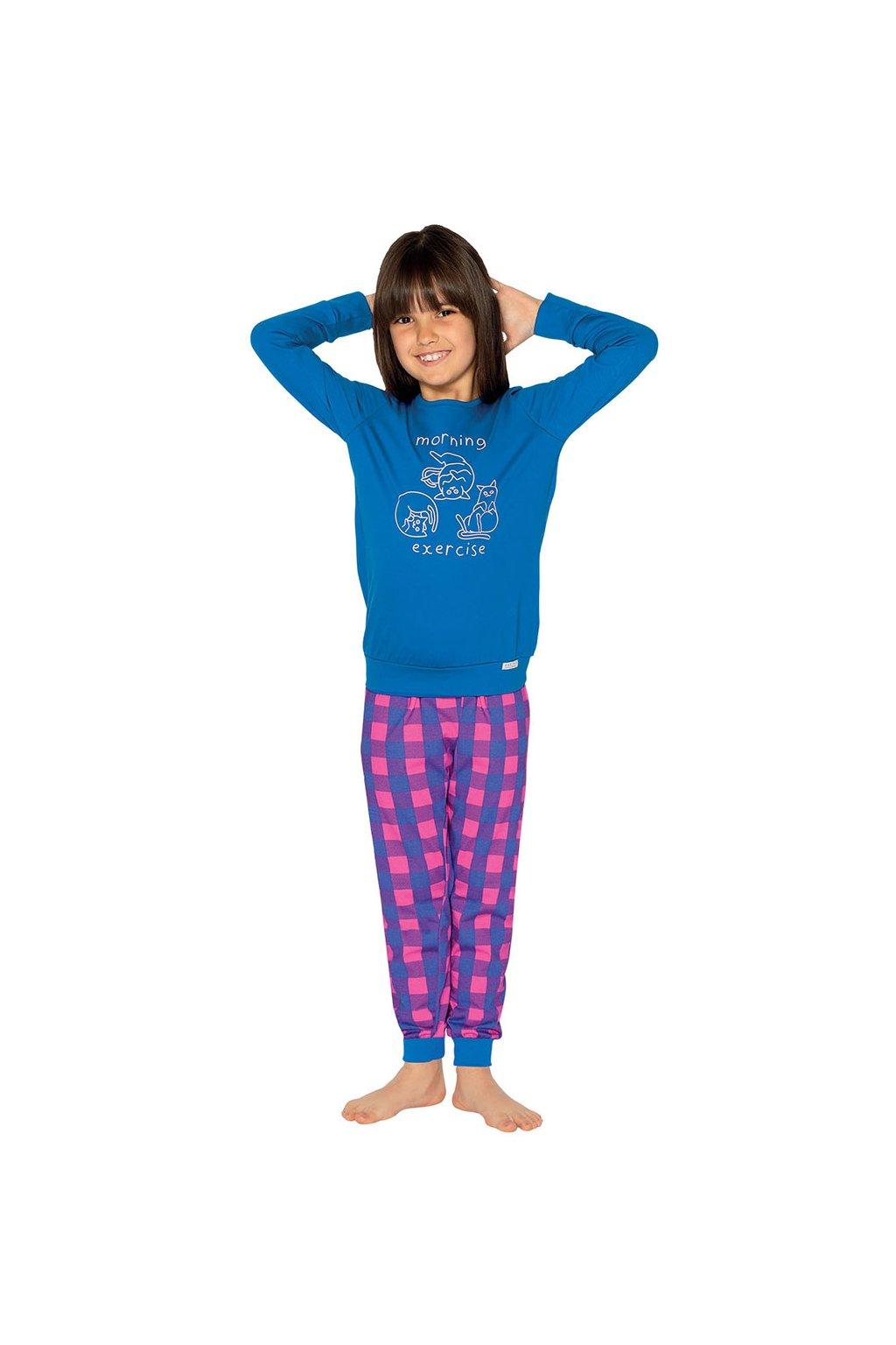 Dívčí pyžamo s dlouhým rukávem, 404159 459, modrá