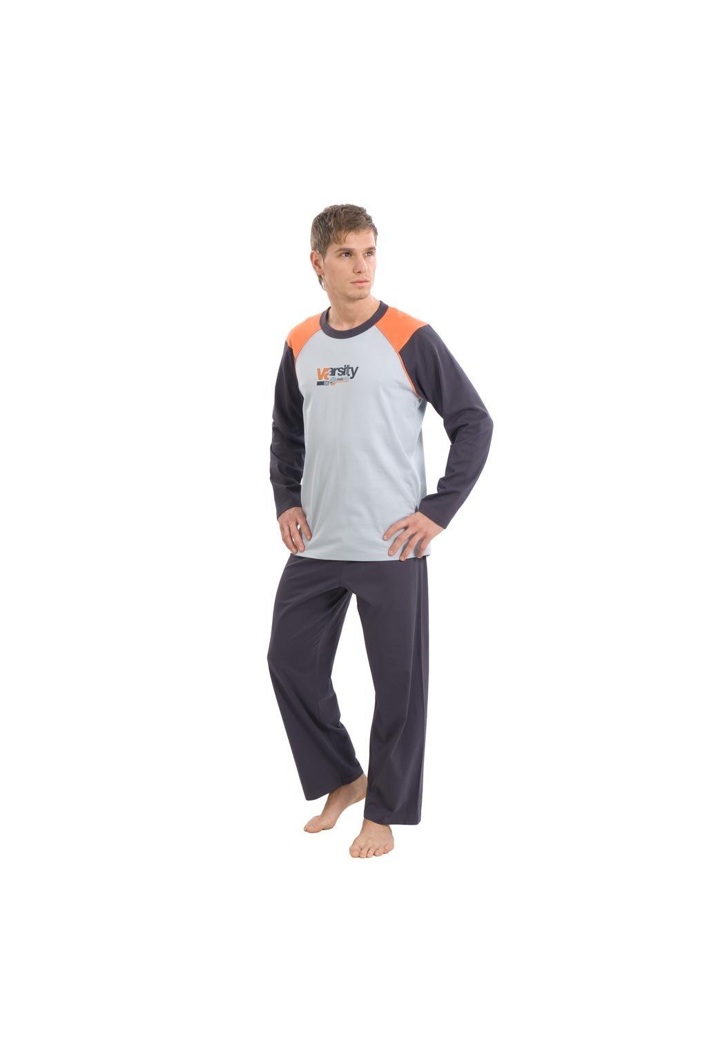 Pánské pyžamo s dlouhým rukávem, 20421 555, modrá