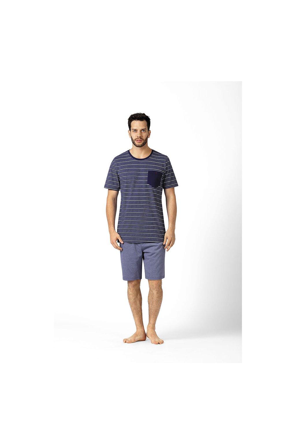 Pánské pyžamo s krátkým rukávem, 20496 163, tmavě modrá