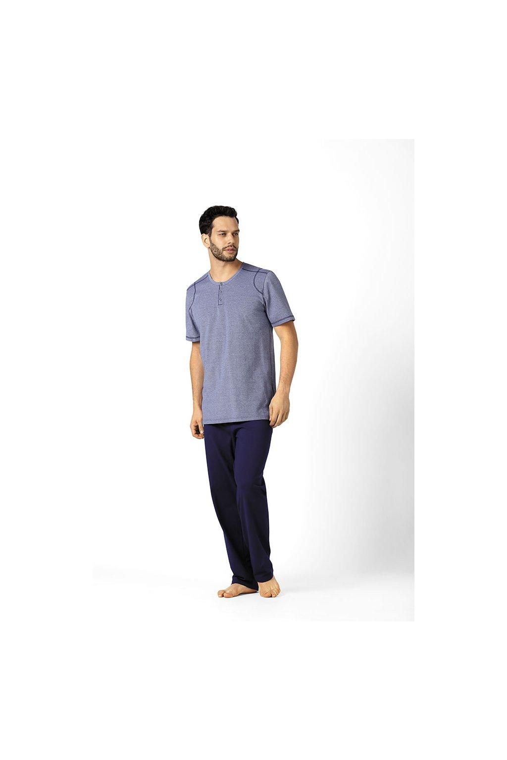 Pánské pyžamo s krátkým rukávem a dlouhými nohavicemi, 20497 163, tmavě modrá