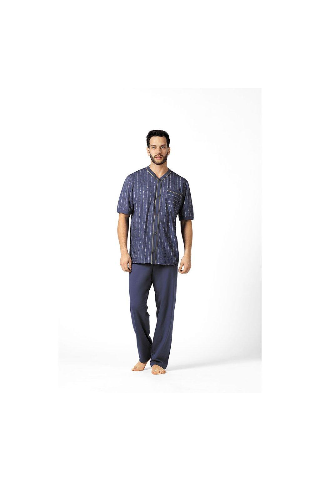 Pánské pyžamo s krátkým rukávem a dlouhými nohavicemi, 20499 416, modrá