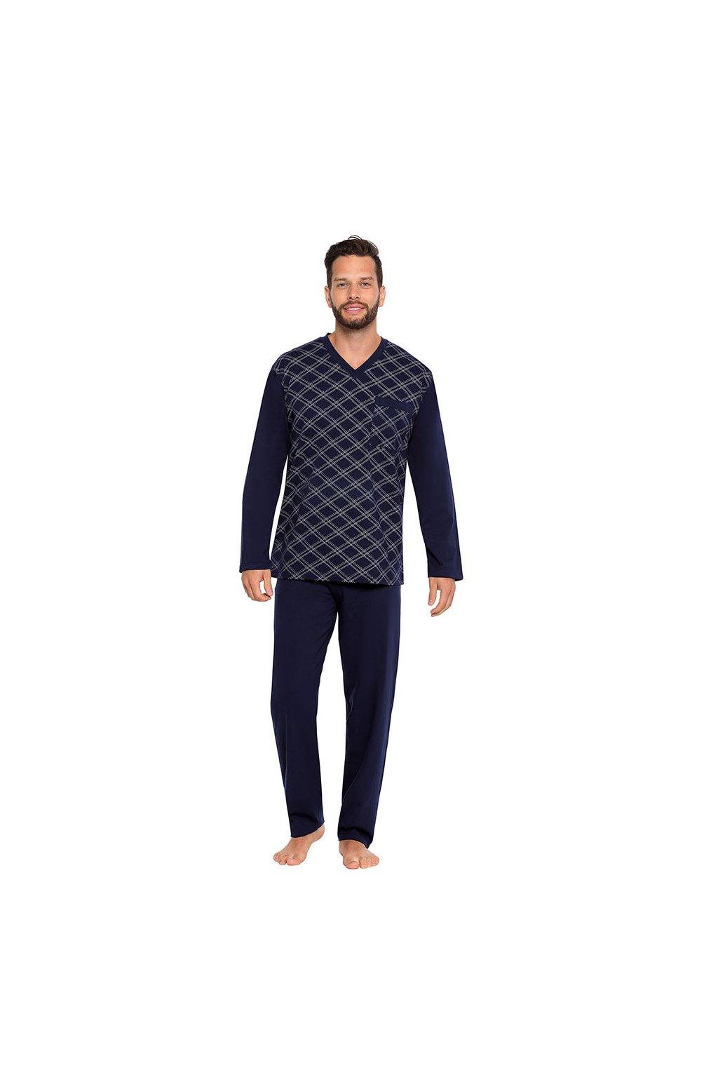 Pánské pyžamo s dlouhým rukávem, 204ERNESTd 28, modrá