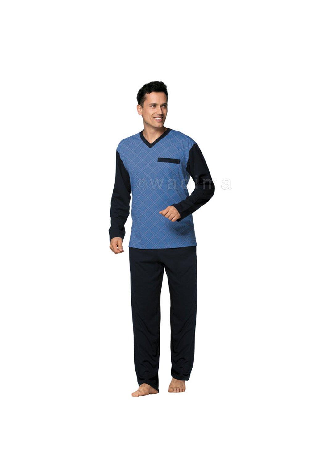 Pánské pyžamo s dlouhým rukávem, 204ERNESTd 868, džínová/modrá