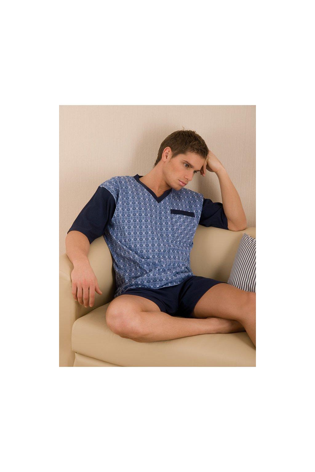 Pánské pyžamo s krátkým rukávem, 204ERNESTk 868, džínová/modrá