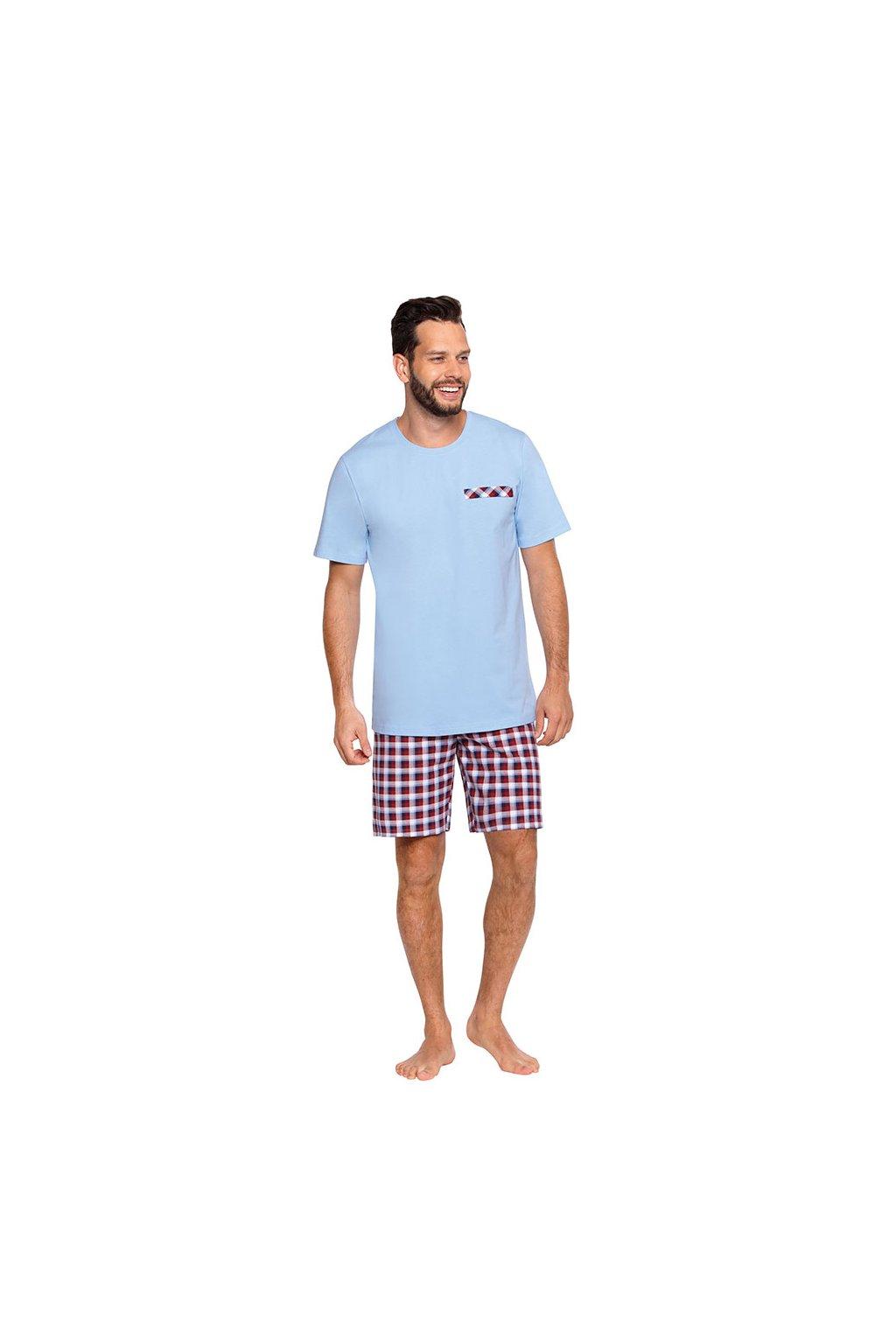 Pánské pyžamo s krátkým rukávem, 204117 415, modrá
