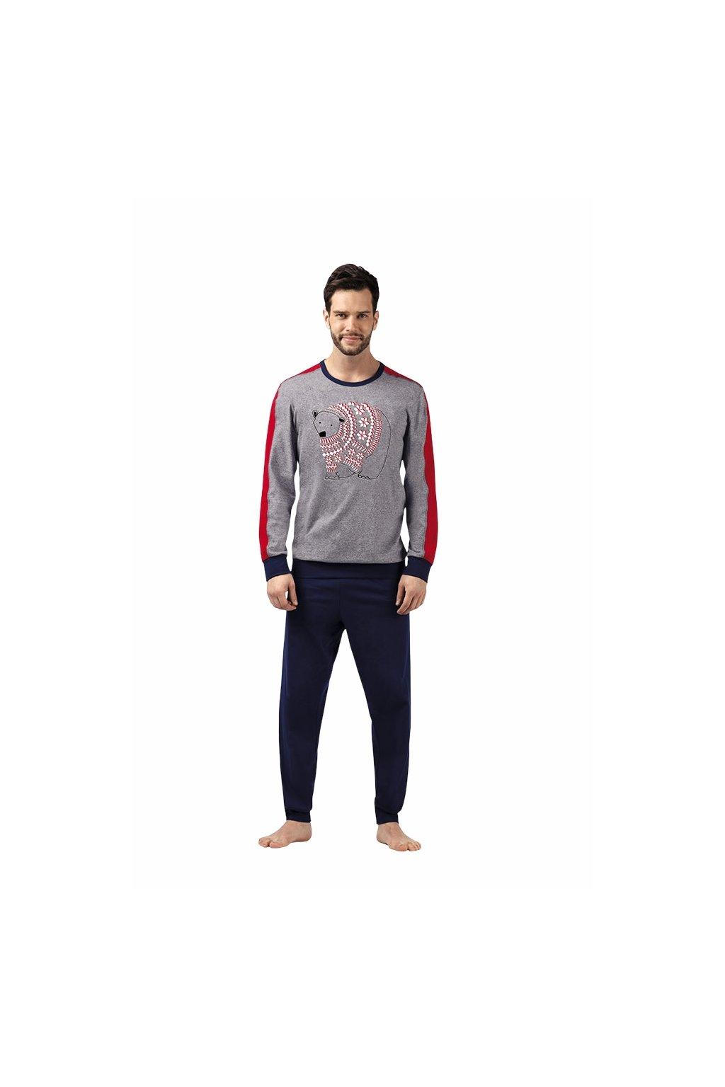 Pánské pyžamo s dlouhým rukávem, 204102 908, modrá/červená