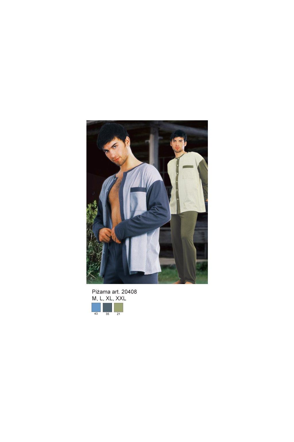 Pánské pyžamo s dlouhým rukávem, 20408 43, modrá
