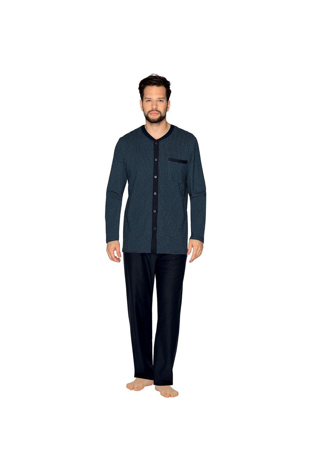Pánské pyžamo s dlouhým rukávem, 20431 101, tmavě modrá