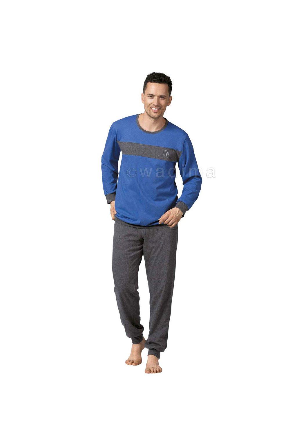 Pánské pyžamo s dlouhým rukávem, 20470 820, modrá/grafitová