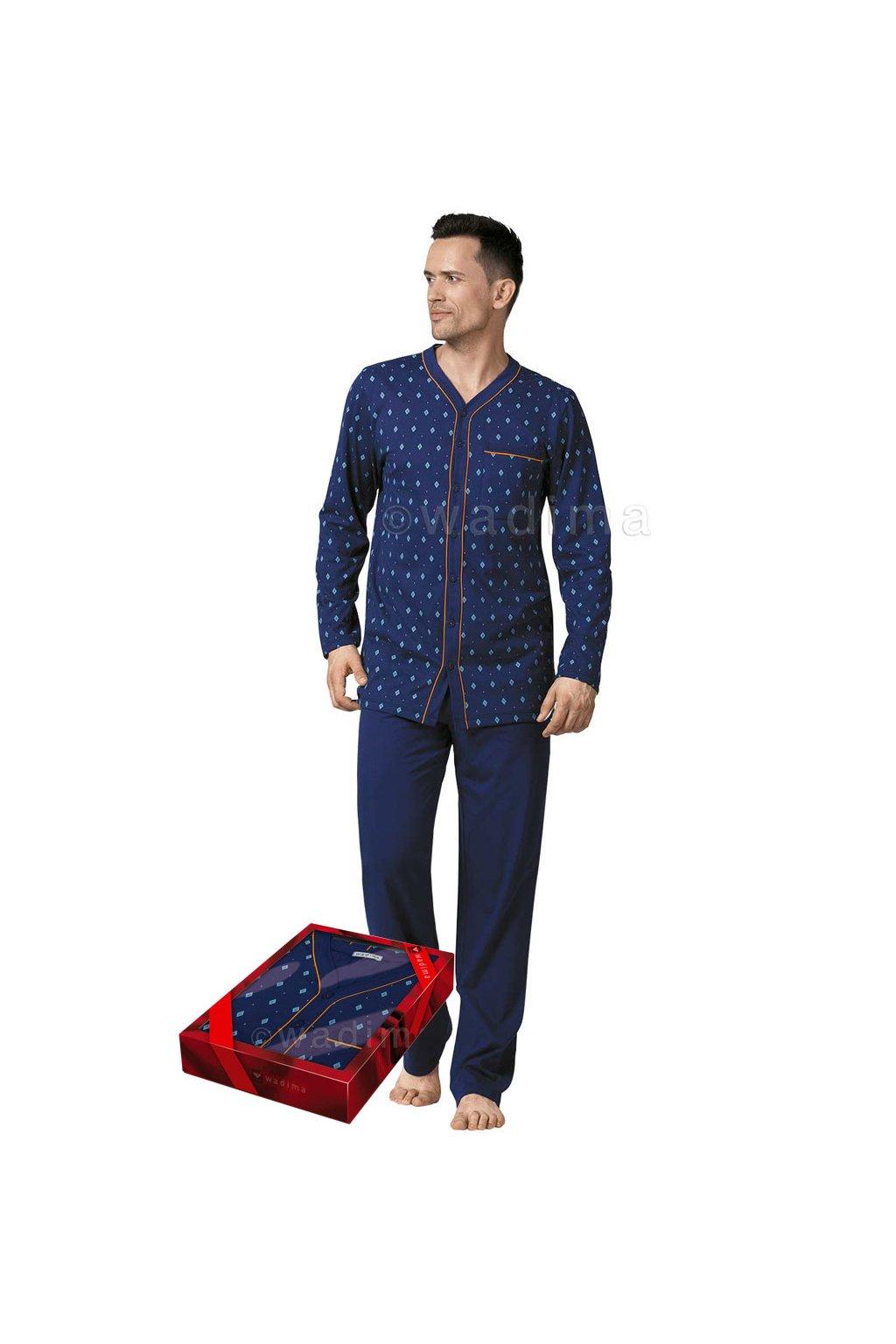 Pánské pyžamo s dlouhým rukávem, 20474 208, modrá