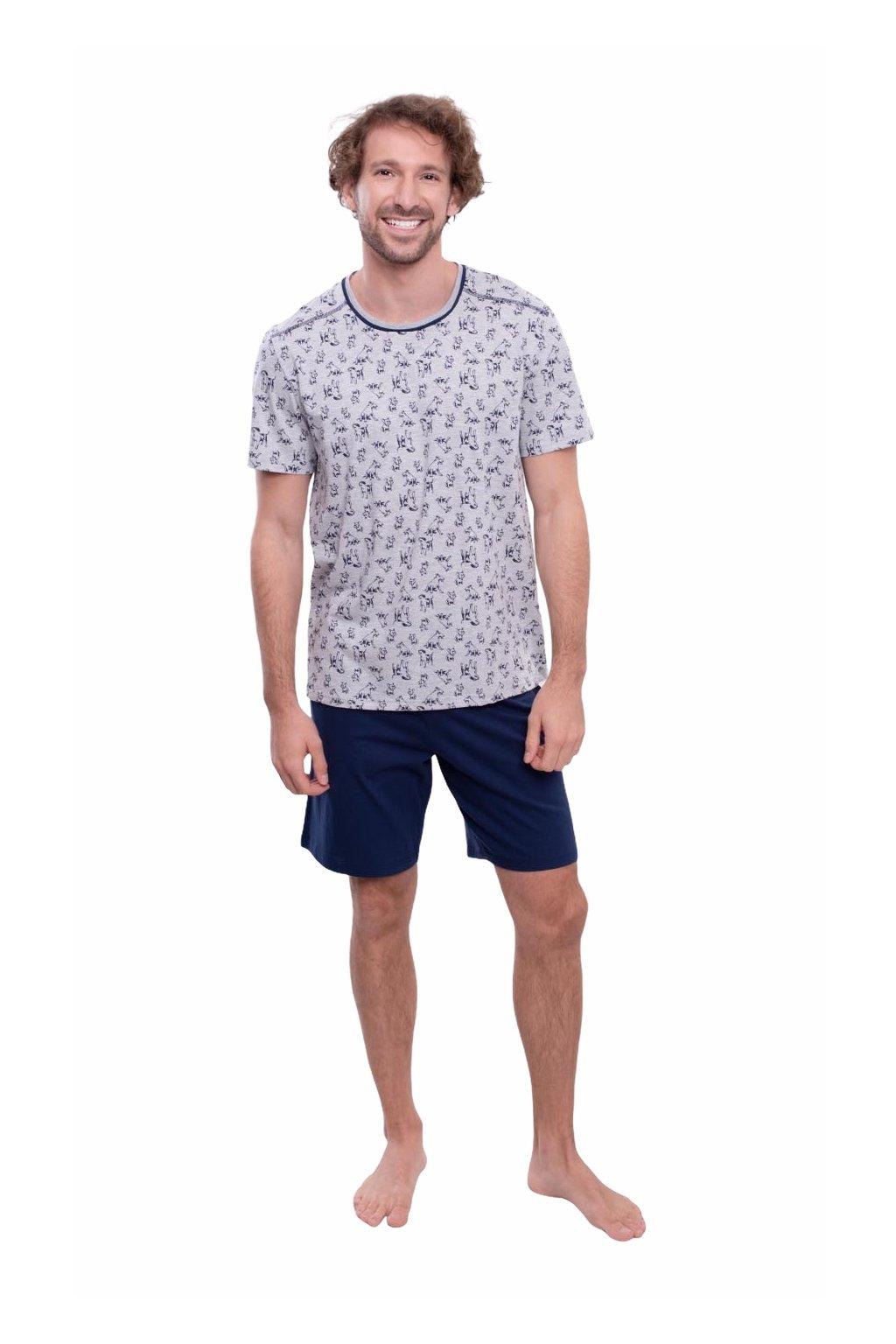 Pánské pyžamo s krátkým rukávem, 204144 28, modrá