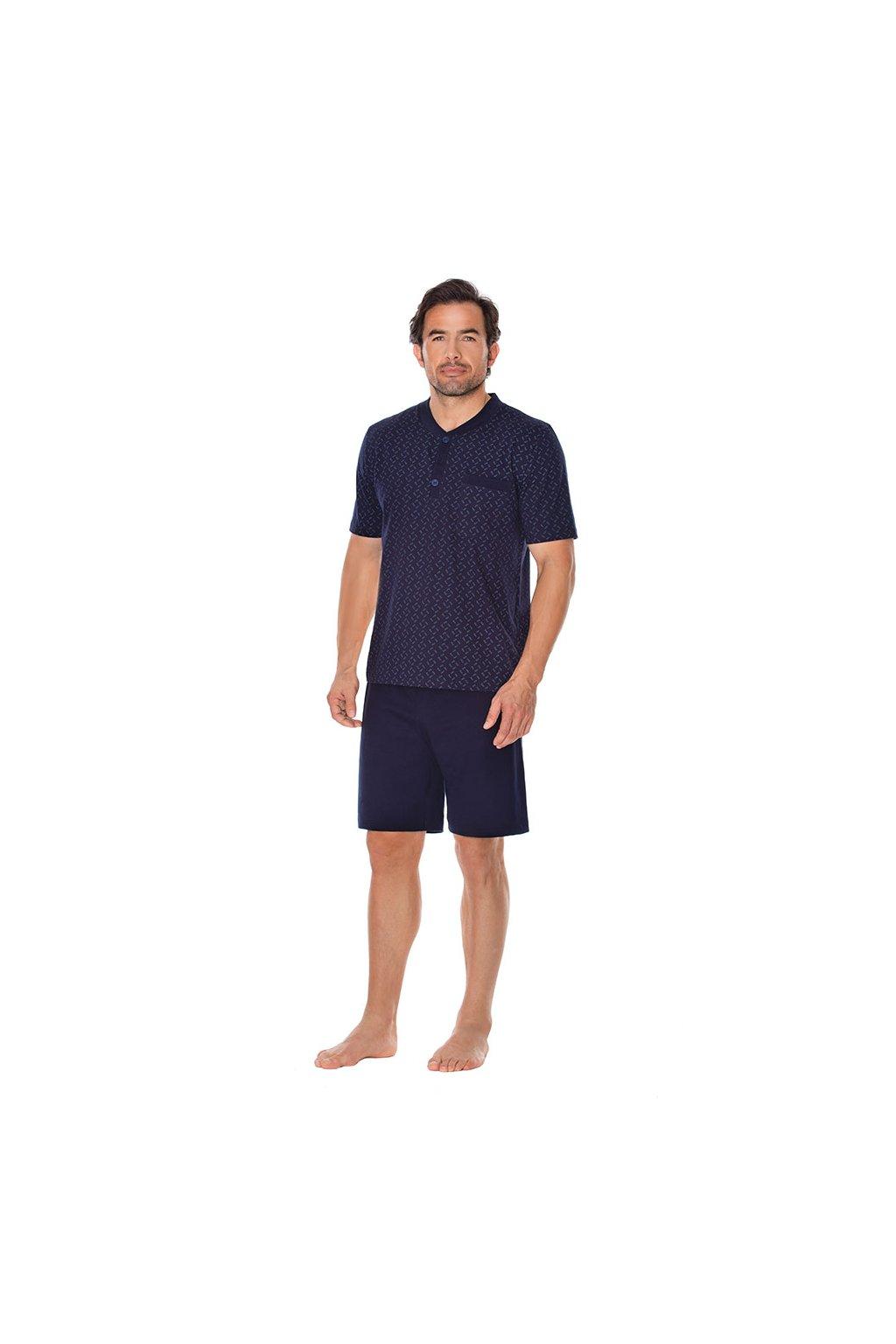 Pánské pyžamo s krátkým rukávem, 204110 208, modrá