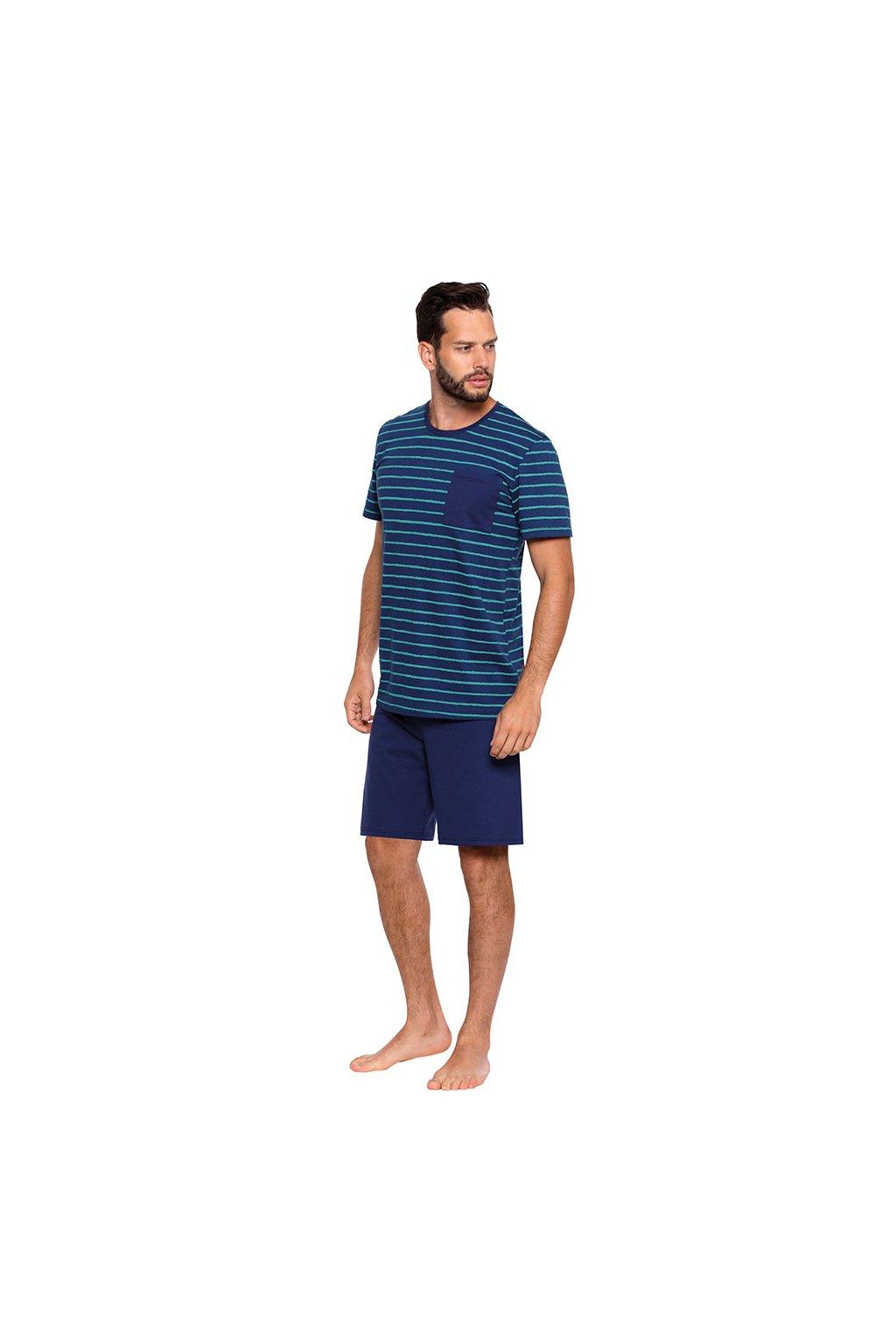 Pánské pyžamo s krátkým rukávem, 204119 208, modrá