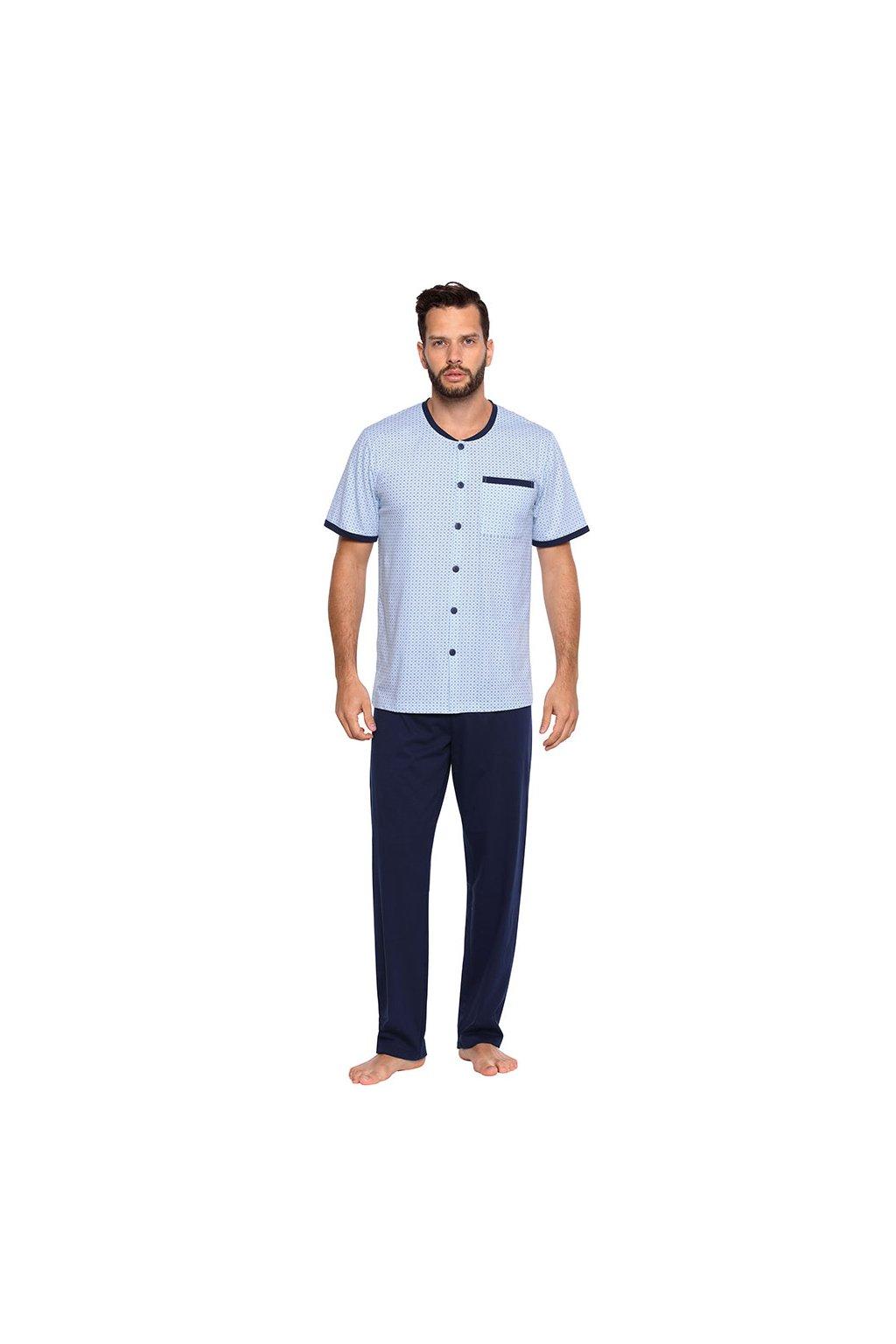 Pánské pyžamo s krátkým rukávem a dlouhými nohavicemi, 204122 40, světle modrá