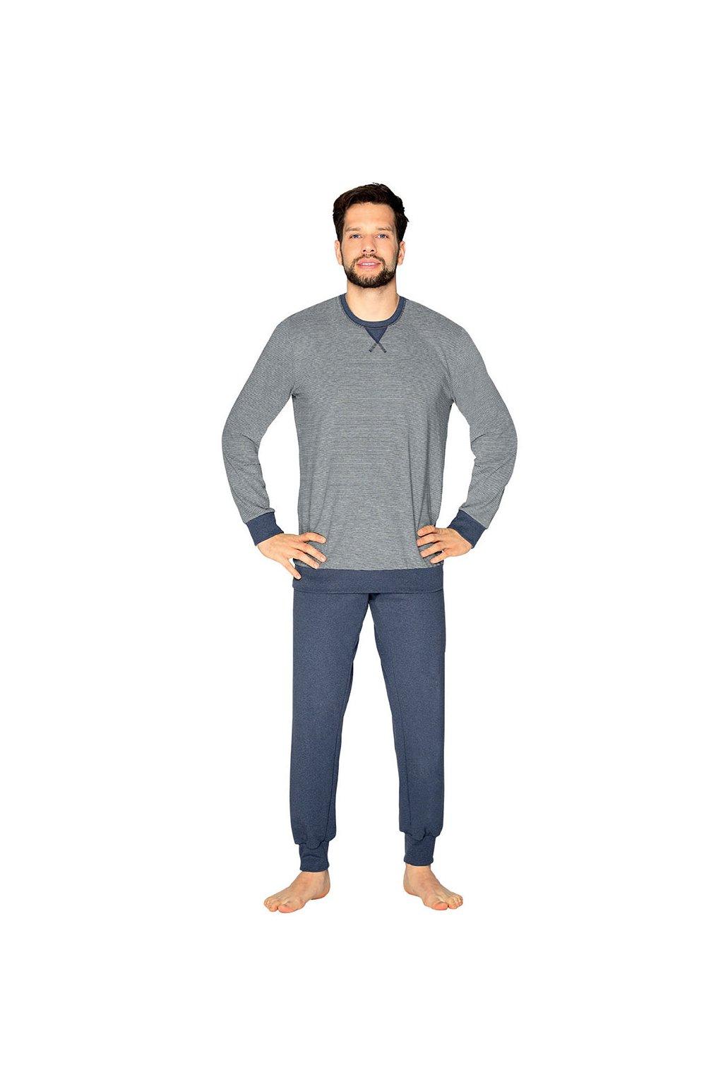 Pánské pyžamo s dlouhým rukávem, 204127 454, modrá