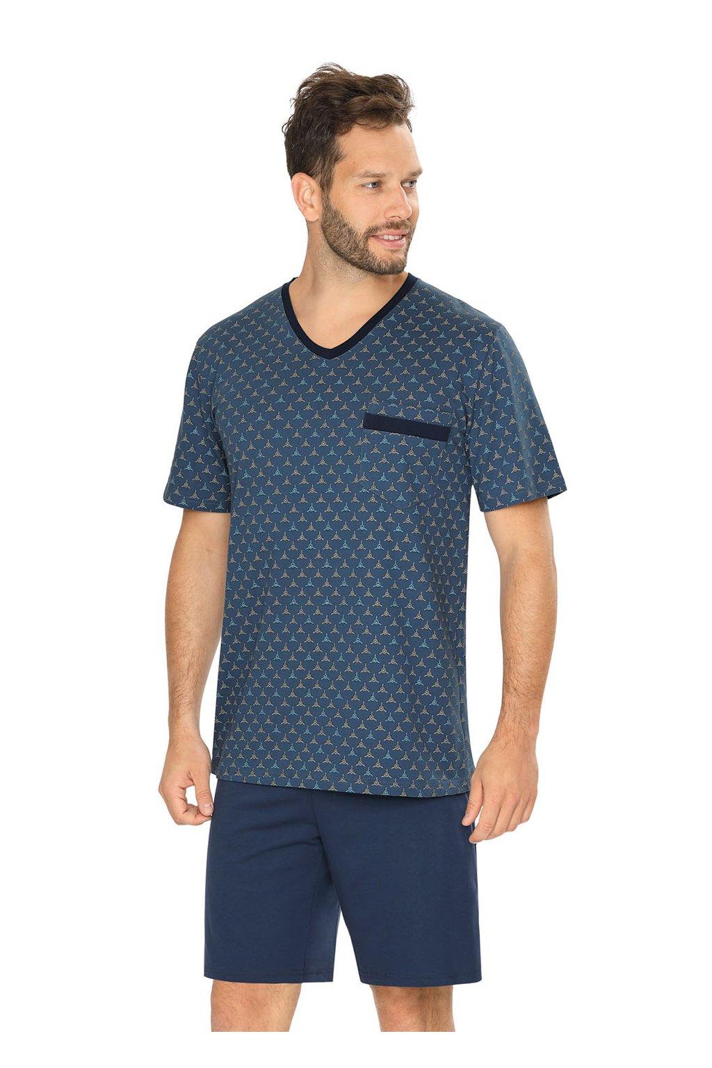 Pánské pyžamo s krátkým rukávem, 204132 265, modrá