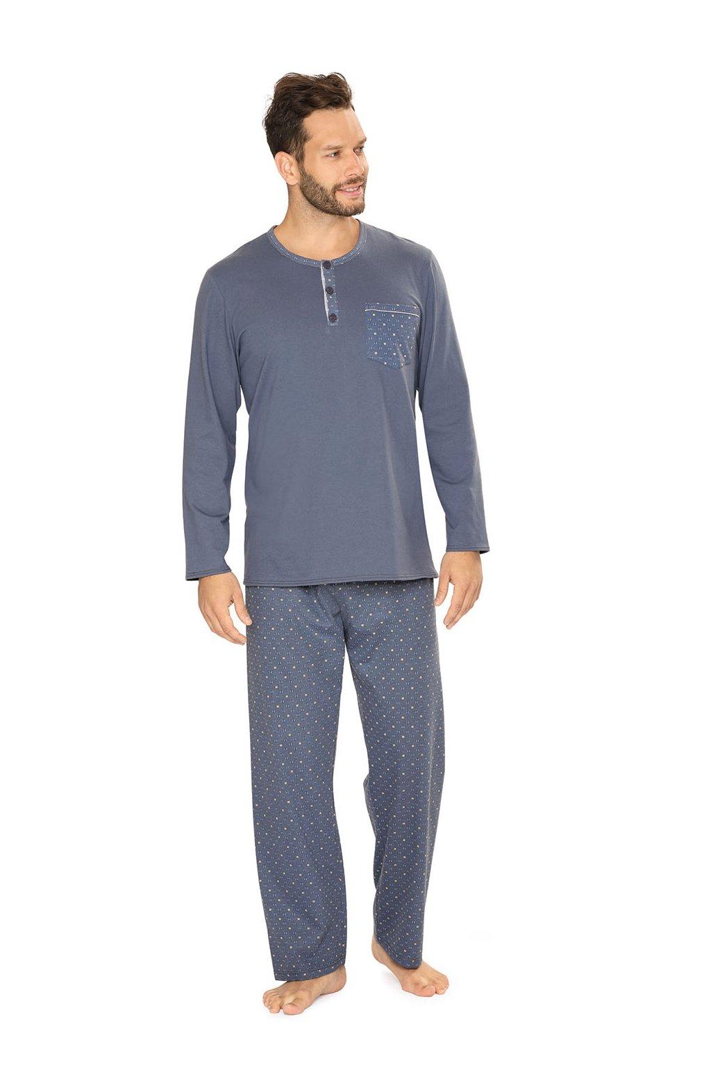 Pánské pyžamo s dlouhým rukávem, 204134 238, modrá