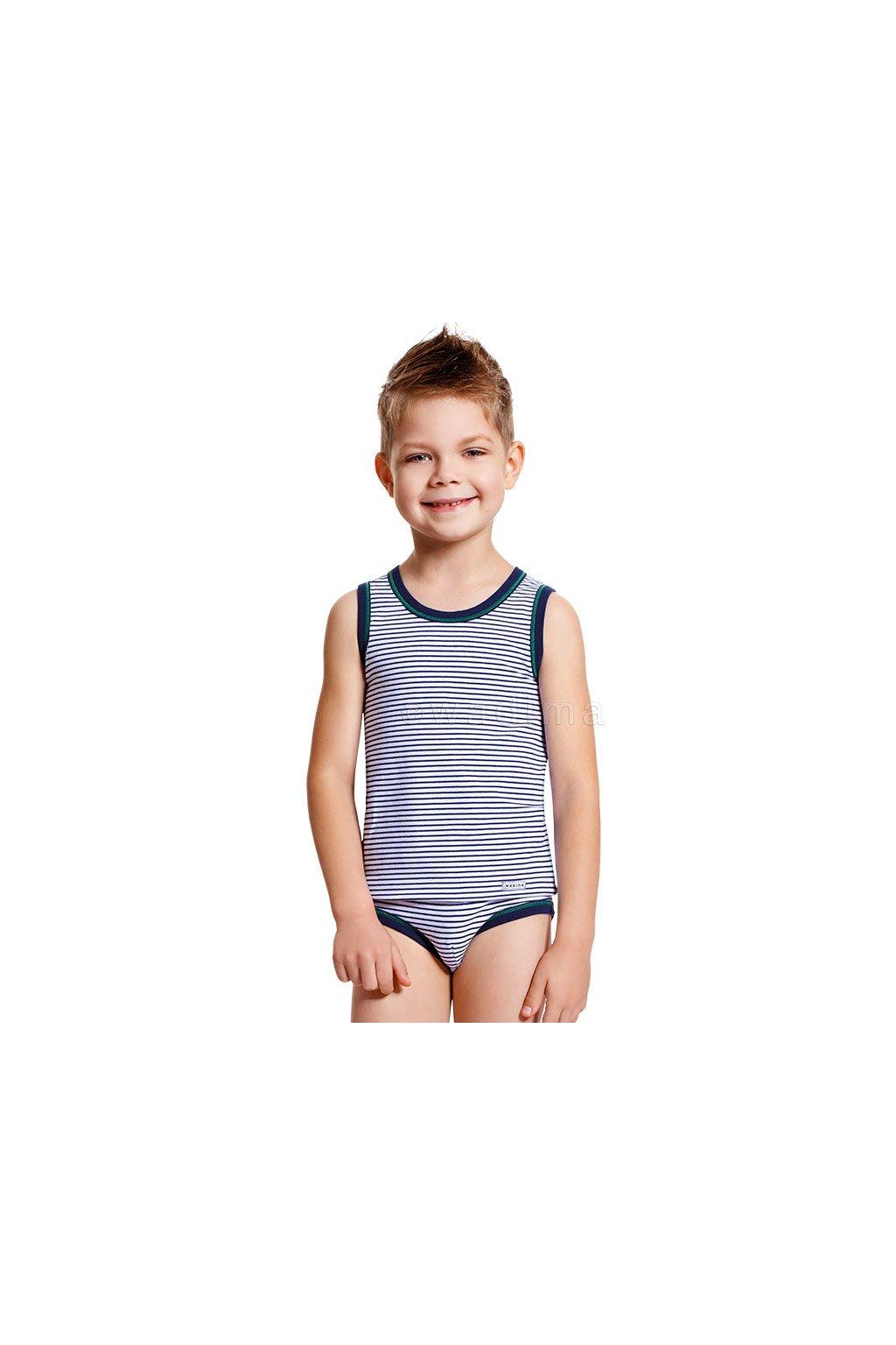 Chlapecký nátělník se širokými ramínky, 50219 166, tmavě modrá