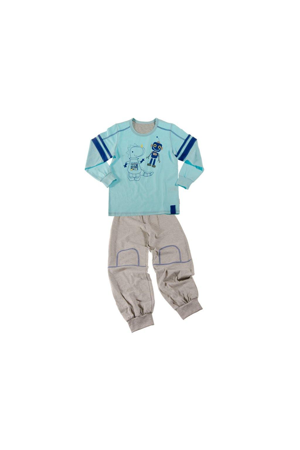 Chlapecké pyžamo s dlouhým rukávem, 50442 734, modrá/šedá