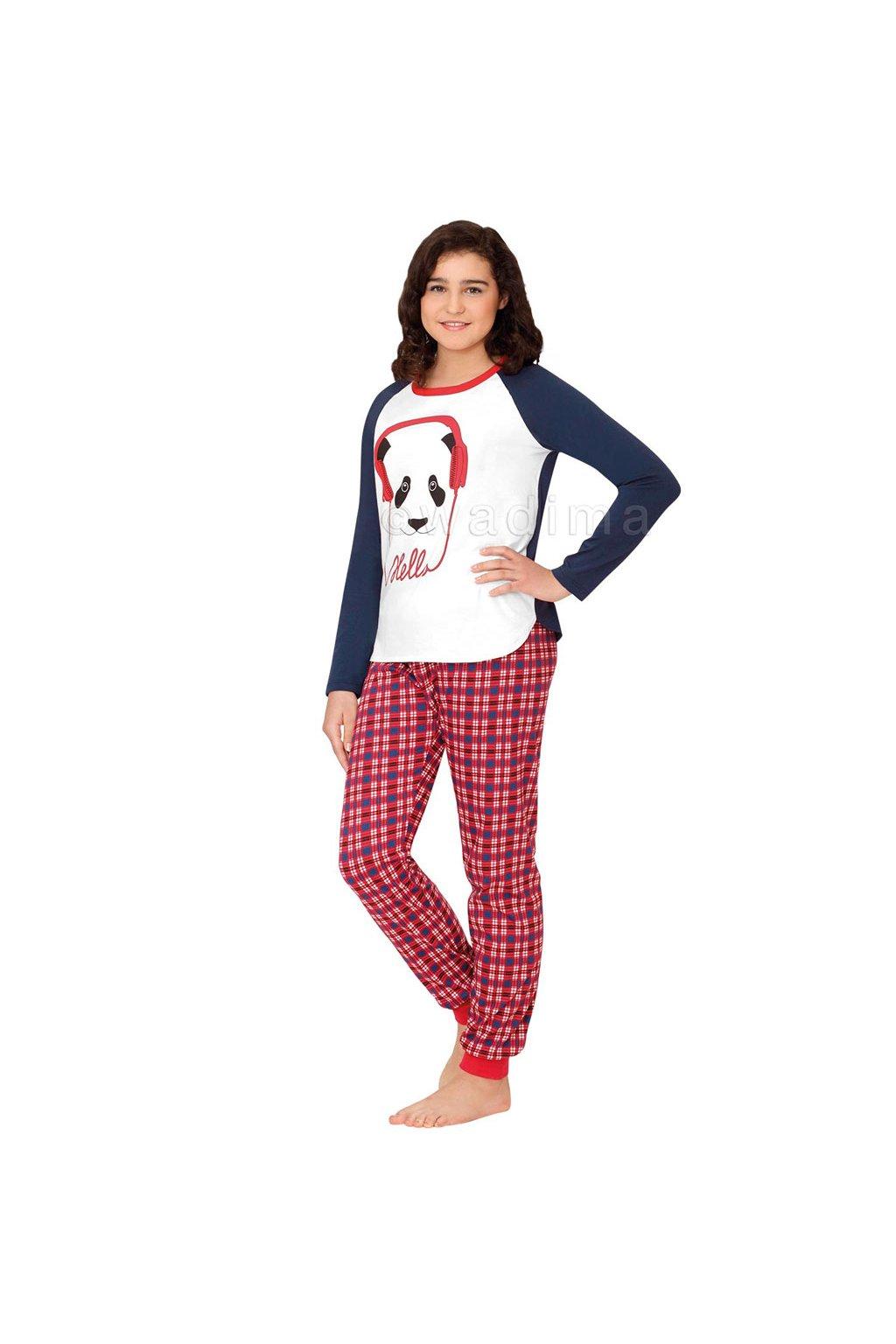 Dívčí pyžamo YOUNG FASHION s dlouhým rukávem, 70463 658, bílá/modrá