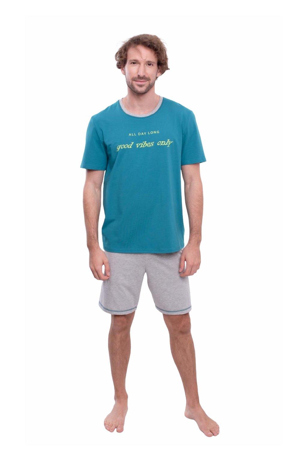 Pánské pyžamo s krátkým rukávem, 204145 323, tyrkysová