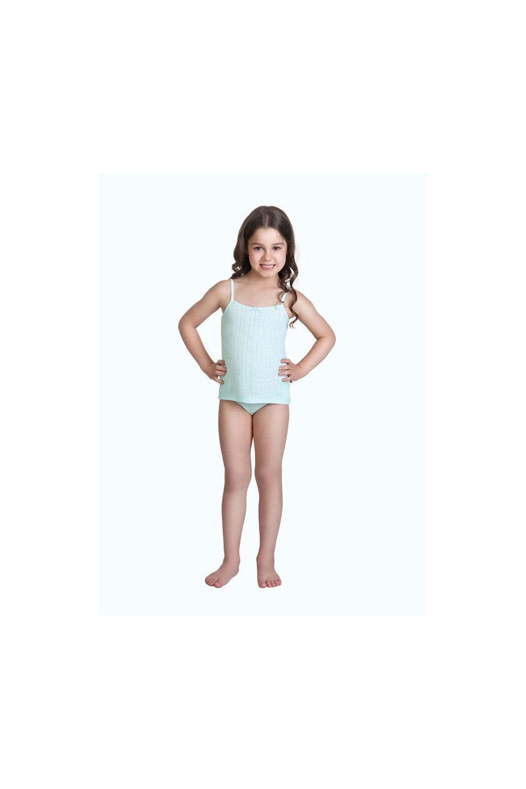 Dívčí košilka s úzkými ramínky, 40232 311, tyrkysová