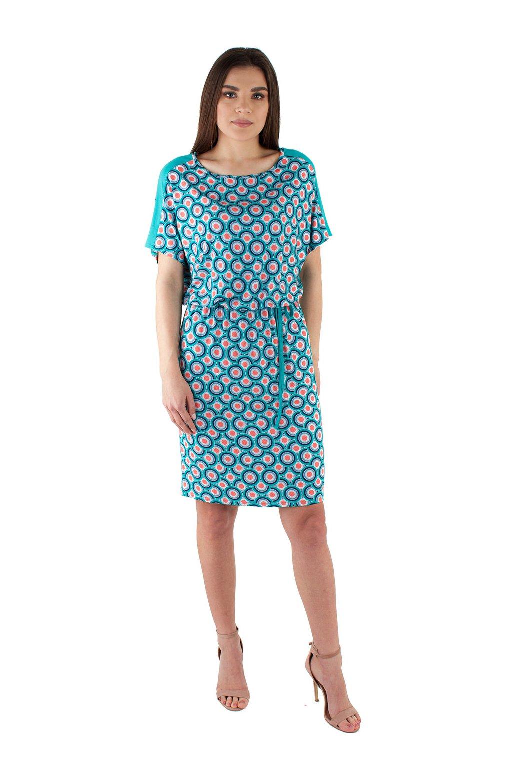Dámské šaty s krátkým rukávem, 105129 234, tyrkysová