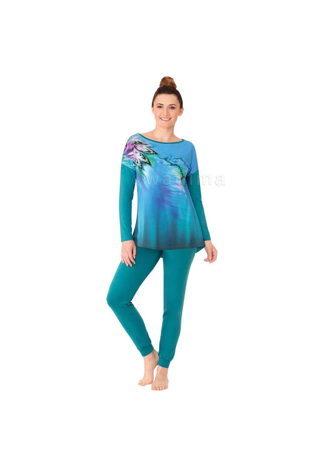 Dámské pyžamo s dlouhým rukávem, 104387 323, tyrkysová