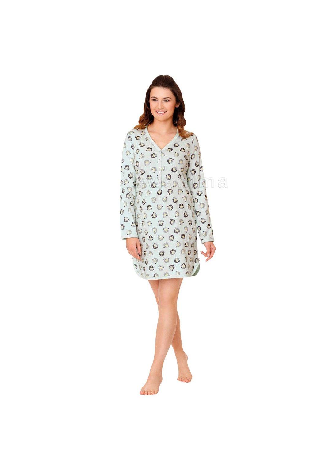 Dámská noční košile s dlouhým rukávem, 104373 114, mátová