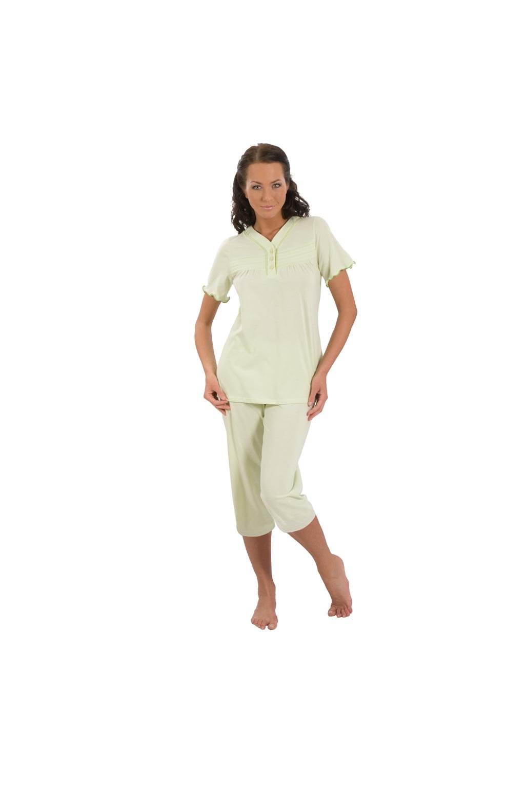Dámské pyžamo s krátkým rukávem a dlouhými nohavicemi, 104145 224, zelená