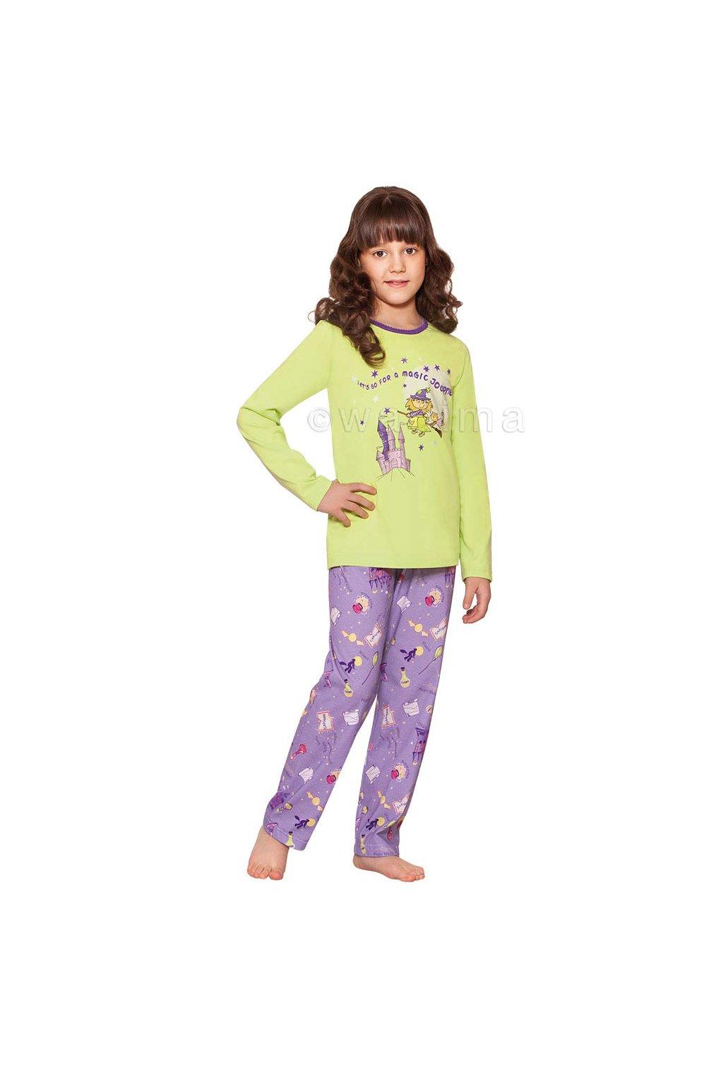 Dívčí pyžamo s dlouhým rukávem, 404105 818, zelená