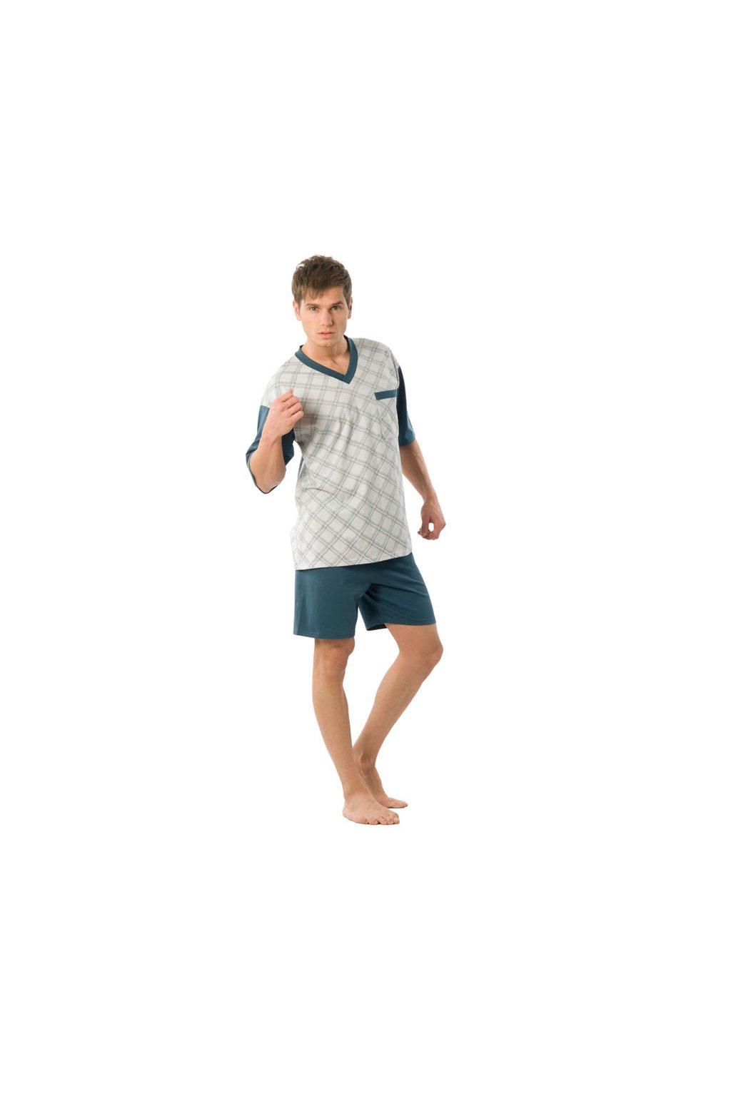 Pánské pyžamo s krátkým rukávem, 204ERNESTk 580, petrol