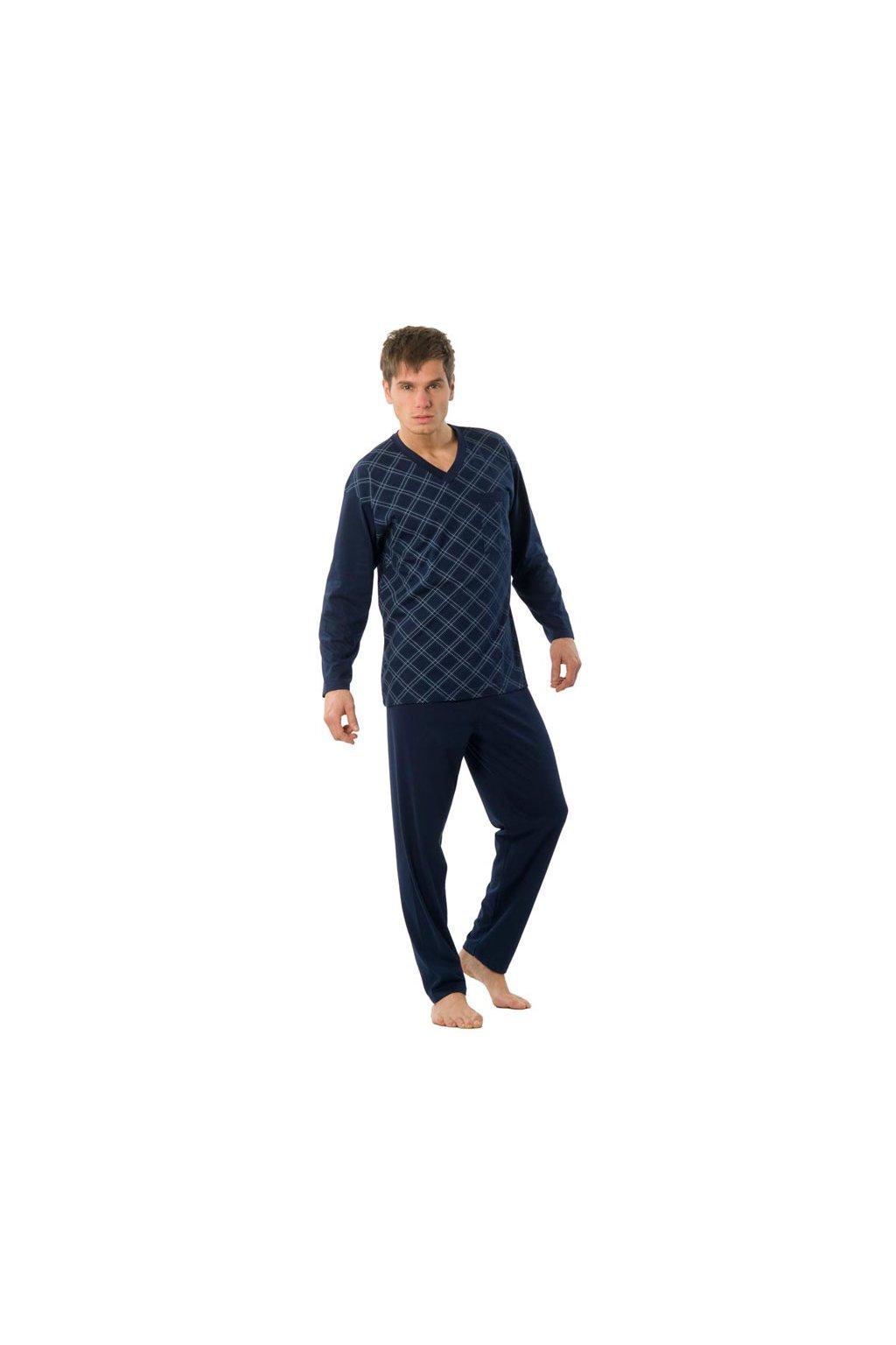 Pánské pyžamo s dlouhým rukávem, 204ERNESTd 505, světle zelená/tmavě zelená
