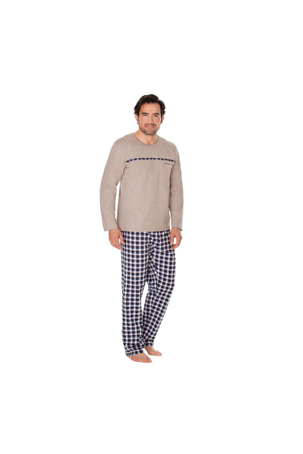 Pánské pyžamo s dlouhým rukávem, 204100 420, béžová