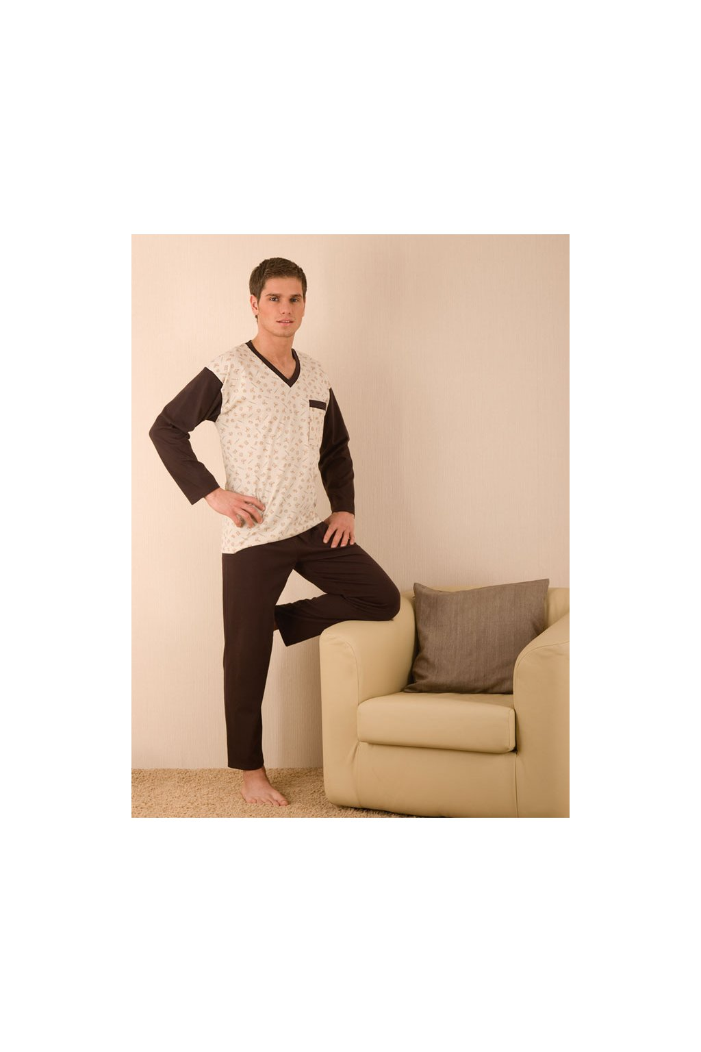 Pánské pyžamo s dlouhým rukávem, 204ERNESTd 516, béžová/hnědá