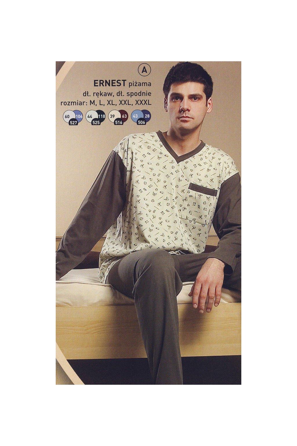 Pánské pyžamo s dlouhým rukávem, 204ERNESTd 525, béž/tmavě zelená