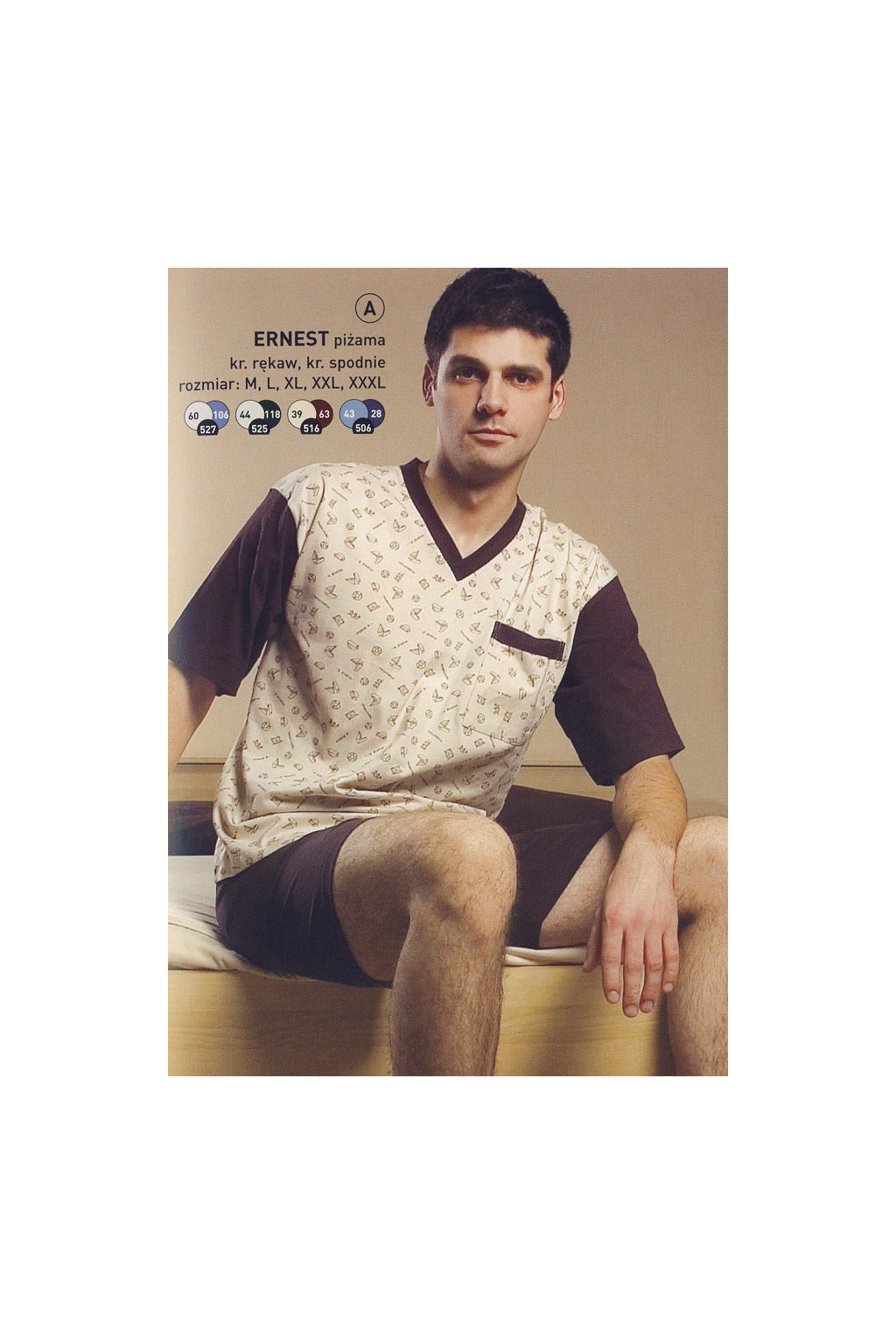 Pánské pyžamo s krátkým rukávem, 204ERNESTk 516, béžová/hnědá